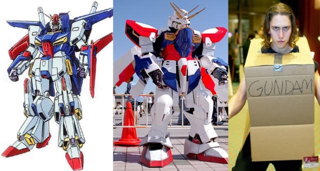 Moile Suite -Gundam, (el de la derecha no se si me da pena o calalogarlo de valiente por usar una caja de carton como vestimenta)